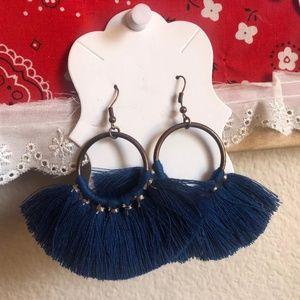 Jewelry - NWOT Boho Blue Fringe Earrings